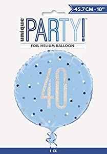 Unique Party 83359 - Globo de aluminio, color azul y plateado