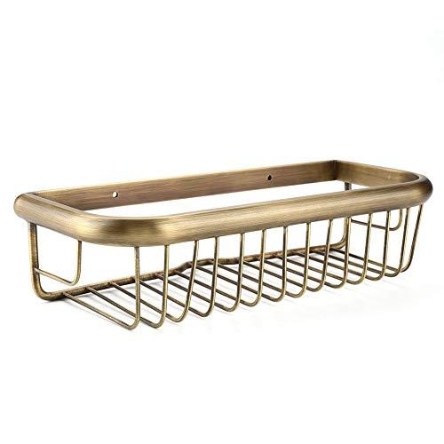 Fdit Bandeja de Almacenamiento Rectángulo Estantería Montada Pared Ducha de Cobre Sólida Soporte de Almacenamiento Vintage para Baño