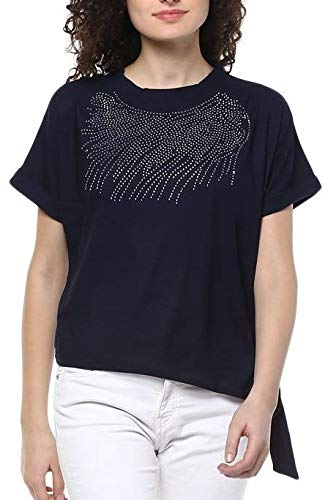 Triumphin Women's Cotton Boat Neck/Off/Cut Shoulder Embroidered Top-Small (Blue)