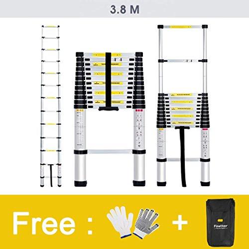 Finether 3.8M Escalera Telescópica de Aluminio, Escalera Extensible, Escalera Multipropósito Portátil con 13 Peldaños, Certificada por EN131, Capacidad de 150kg, Perfecta para Casa, Desván y Oficina