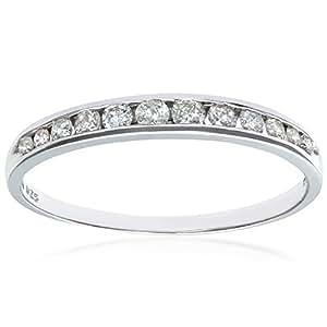 Naava 9 ct White Gold Quarter Carat Diamond Channel Set Half Eternity Ring, White Gold, H