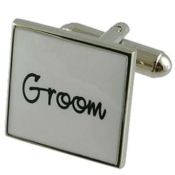 Cuff links Wedding Cufflinks~Groom White Wedding Cufflinks + Hand Made Black Pouch
