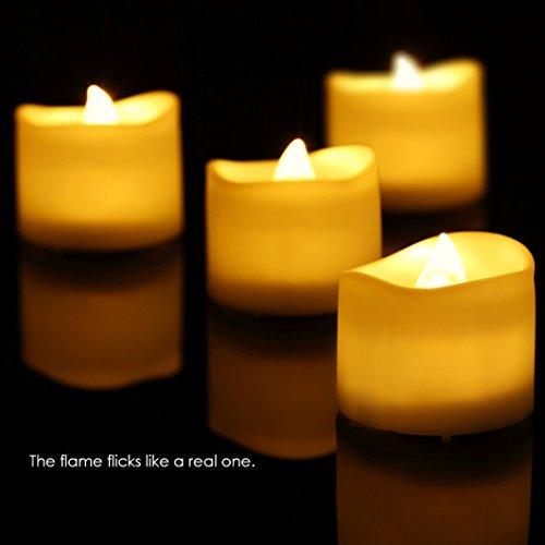 Juego de 9luces velas LED (sin llama, KINGCOO Control remoto electric Navidad intermitente LED Tea Light velas con temporizador y baterías para fiestas de cumpleaños bodas Festivals condecoraciones