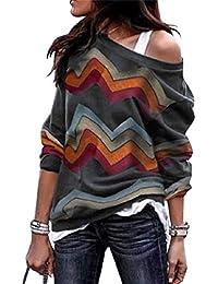 Voqeen Camisa de Manga Larga Tallas Grandes Mujer Camisas Estampado de Moda de Mujer Verano Camisas Blusas Tops Cold Shoulder Blusa Camisa Algodón Shirts
