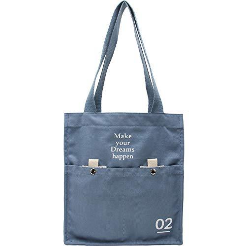 Bedolio lässige Umhängetasche aus Segeltuch mit großem Fassungsvermögen für Damen Simple Art Student Bag, blau