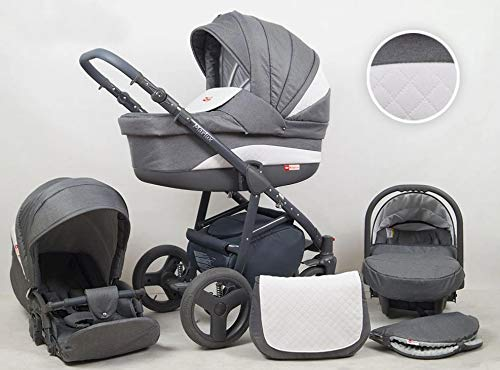 Travel System Stroller Pram Pushchair 2in1 3in1 Set Isofix Marley by SaintBaby Plum 2in1 Without Baby seat SaintBaby 3in1 or 2in1 Selectable. At 3in1 you will also receive the car seat (baby seat). Of course you get the baby tub (classic pram) as well as the buggy attachment (sports seat) no matter if 2in1 or 3in1. The car naturally complies with the EU safety standard EN1888. During production and before shipment, each wagon is carefully inspected so that you can be sure you have one of the best wagons. Saintbaby stands for all-in-one carefree packages, so you will also receive a diaper bag in the same colour as the car as well as rain and insect protection free of charge. With all the colours of this pram you will find the pram of your dreams. 2