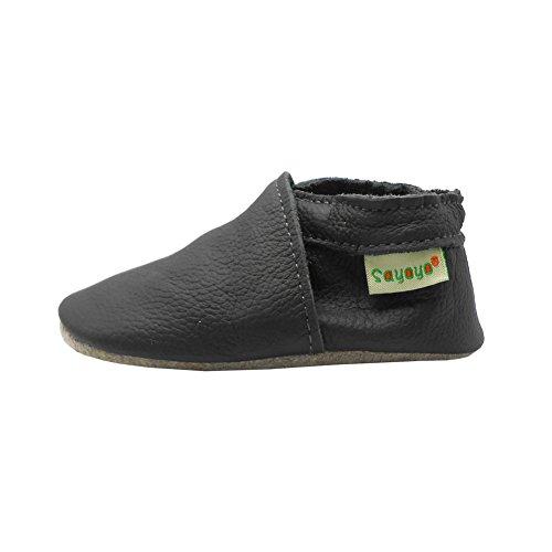 Sayoyo premium cuir souple chaussures de bébé en cuir souple chaussures semelle douce gris foncé