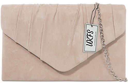 UKFS Damen Herbst Designer Samt-Umschlag-Abend-Handtasche Handtasche Nackt