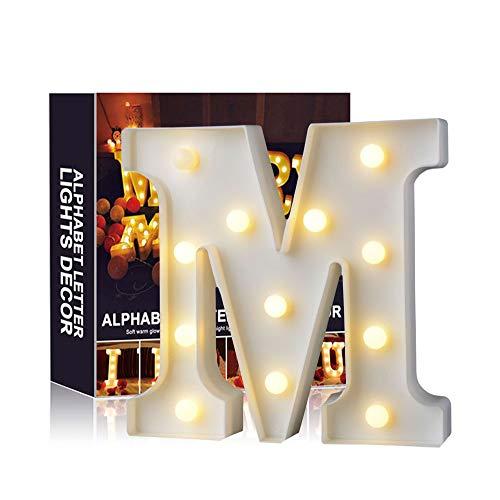 A-Z Alphabet Light White LED Lámparas de noche Plastic Letter Standing Hanging Lighting para Wedding Party Dormitorio Decoración de Navidad by Moobom (M)