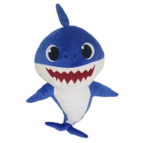 Karneshop Plüsch Cartoon PinkFong Weiche Plüsch Stofftiere Fox Toy Sharks Puppen Kinder Baby Tier Spielzeug Mit Musik Geschenk(Blau 32cm/12.6in)