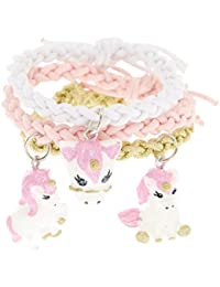 Claire's Girl's Kids 3 Pack Unicorn Braided Stretch Bracelets Pink.