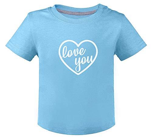 St Valentin Love You T-Shirt Bébé Unisex 18M Bleu Ciel