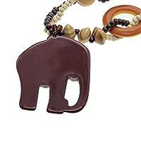 Imixlot Ethnic Style Long Handmade Bead Wood Elephant Pendant Necklace