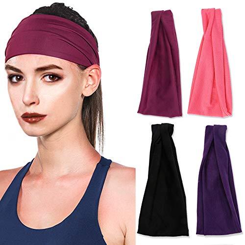 Vegena 4 Stück Stirnband Damen Elastische Einfarbig, Frauen Baumwolle Gestrickte Stirnbänder Dehnbar Haarband Weiche Turban-Kopf-Verpackungs für Alltag Yoga Sport Mode