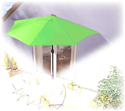 IMC Sonnenschirm halbrund hellgrün Balkon mit Kurbel Wandschim Marktschirm Balkonschirm Terrasse Garten Sonnenschutz Halbschirm halb Polyester
