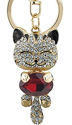 SaySure - Lucky Smile Cat Crystal Rhinestone Keyrings Key Chains
