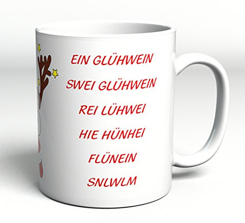 """Tasse lustig mit Spruch/Schriftzug\""""Ein Glühwein, Swei Glühwein.\"""" als Geschenk zu Weihnachten - Xmas - Weihnachtsgeschenk"""
