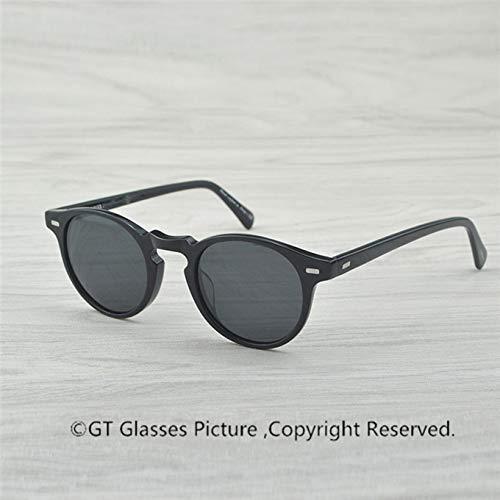 LKVNHP Neue Hochwertige Vintage Polarisierte Linse Sonnenbrille Gregory Peck Markendesigner Männer Frauen Sonnenbrille Retro Sonnenbrille Gafas OculosSchwarzGegenGrau 47