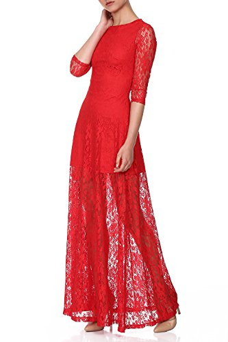 red-isabel-mujer-taltan-lace-maxi-dress-with-flared-skirt-rojo-es-42