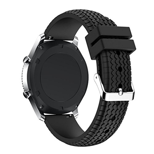 Solid Silikon (Samsung Gear S3 Classic / Frontier Armband, CICIYONER 1 PC Solid Color Einfache Freizeit Sport Silikon Armband Strap Band (Schwarz, Samsung Gear S3 Classic/Frontier))