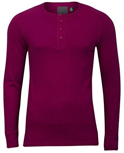 Modisches Herren Y-Neck Henley Langarmshirt Longlsleeve T-Shirt Grandad Knöpfe Weinrot