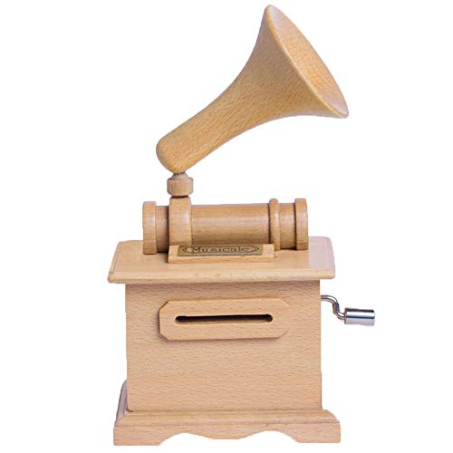 (Unbekannt Spieluhr Massivholz Plattenspieler Retro DIY Handkurbel Papier Spieluhr Kreative Geschenk Ornamente Doppelte Bewegung,1,1)