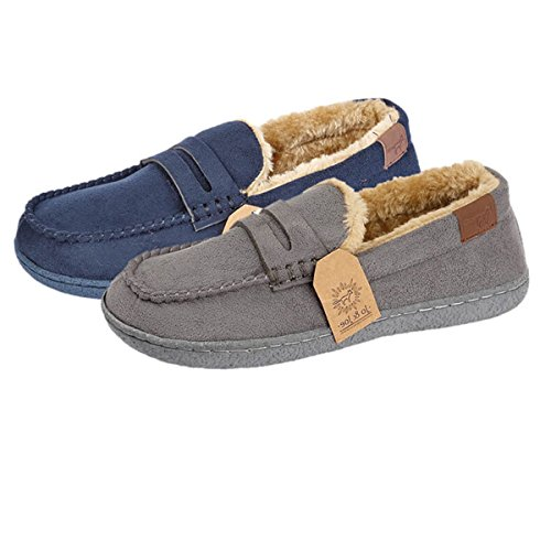 Boys Kids Junior Fleece Lined Moccasin Warm Winter Slip On Slippers Shoe Size