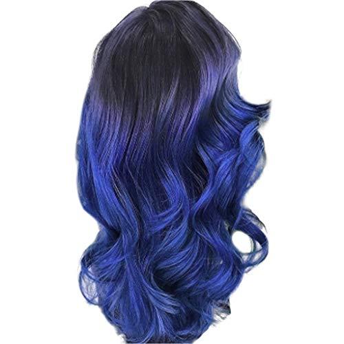 Damen Perücke LIMITA Damen Perücke Beauty Smooth Hair Frauen Lang Wellig Harajuku Style Cosplay Peruecke Blue Perücken Gewellte Lockige Hitzebeständige Faser Kostüm Party Perücken (1, ()