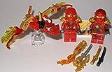 Lego Ninjago Figuren 3er Set Roter Drache und 2X Roter Ninja Kai und bmg2000 Aufkleber