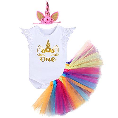 urtstag Tutu Kleid Set Romper + Rock Tütü Pettiskirt + Einhorn Horn Stirnband / Krone Stirnband Geschenk Säuglings Prinzessin 3 Stück Outfits Verkleidung Fotoshooting Kostüm (Regenbogen-halloween-kostüme)