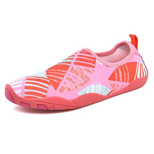 Cool&D Unisex Aquaschuhe Aqua Schuhe Atmungsaktiv Strandschuhe Schwimmschuhe Badeschuhe Wasserschuhe Surfschuhe für Damen Herren Kinder Rosa