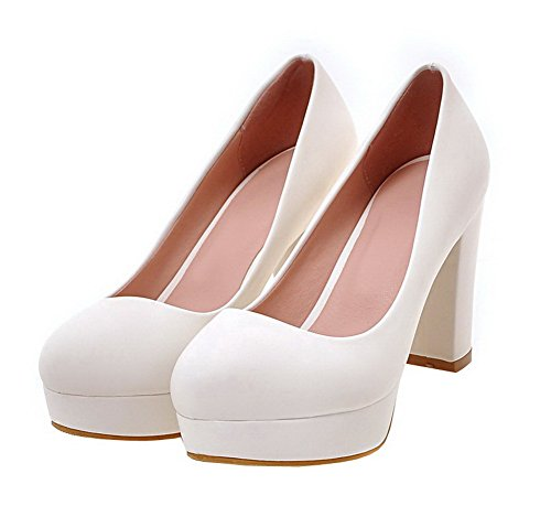 AgooLar Femme PU Cuir Rond à Talon Haut Tire Couleur Unie Chaussures Légeres Blanc