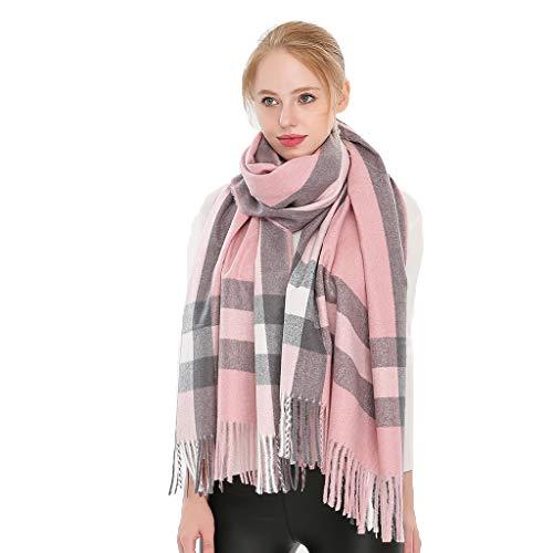 DIAOSI Reiner Kaschmir gestreifter Schal, Herbst und Winter Damen Plaid/Herren British Style Warmer Schal 3 Farben (Color : Pink) Plaid Fashion Damen Schals