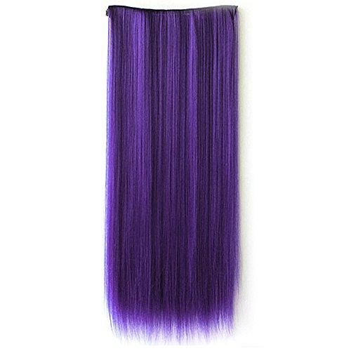 Vococal® 60Cm Longueur un Morceau Long Morceau Perruque Droite Pince à Cheveux Dans La Prolongation de Cheveux Humains Violet