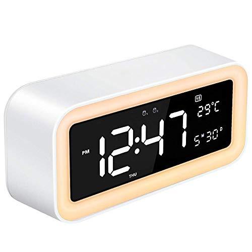 TINAWNZS Wake Up Light Wecker Schlafzimmer LED-Uhr Großes Display Snooze Dimmer 12/24 Stunden natürlicher Klang 6-Farben-Nachtlicht mit USB-Ausgang, Digital Sunrise Alarm Doppel-Alarm (Weiß) Ausgang Display