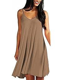 07b2c62d1800 ARAMONIAT ® Women s Casual Plain Simple T-Shirt Loose Summer Dresses  Sundress