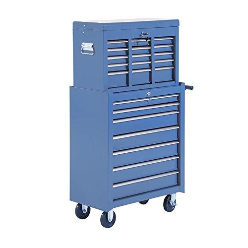 HOMCOM Fahrbarer Werkzeugwagen Werkstattwagen Rollwagen Werkzeugkasten (Blau) - 4