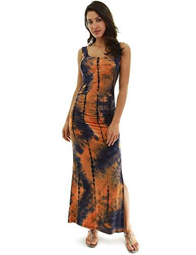 PattyBoutik Damen ärmelloses Sommer Maxi Kleid mit Rundhalsausschnitt und Seitenschlitz (Orange und Indigo 52 M 40)