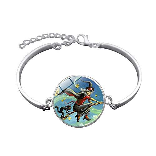 te Halloween Hexe Zeit Gem Armband Silber-Legierung Armband Armband Herren Damen Karnevalsfeier ()