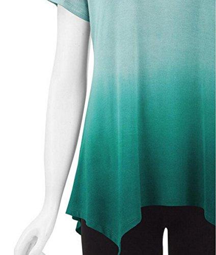 Damen Schulterfrei Oberteil Bluse sommer Kurzarm T-shirt Grün