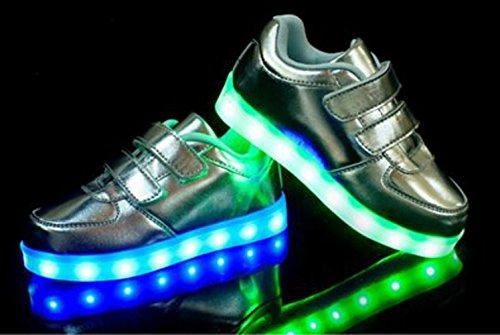 [Présents:petite serviette]JUNGLEST® Unisexe Enfant Filles Garçons a mené la Lumière Jusquà Formateurs de Sneakers Chaussures de Sport Chaussures d Argent