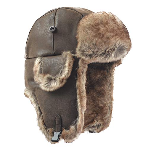 25b47a79337cb Janey Rubbins Russian Soviet Ushanka Cossack Aviator Bomber Hat Winter Fur  Earflap Cap (Medium