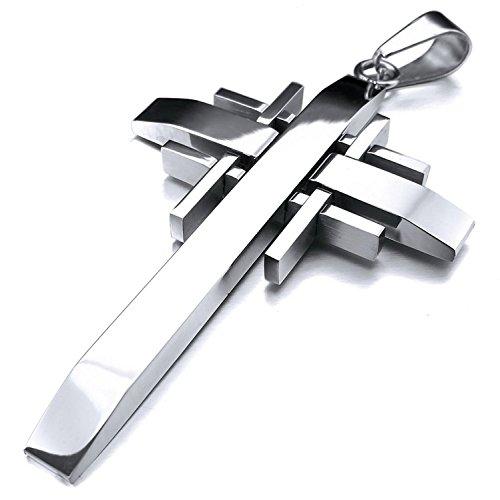sungpunet Herren-Halskette Anhänger Edelstahl Kreuz-mit 58,4cm Kette