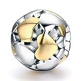 FOREVER QUEEN Damen Herzform Charm Bead für Armbänder aus 925er Sterling Silber Liebe Anhänger passend für Armband und Halskette MEHRWEG