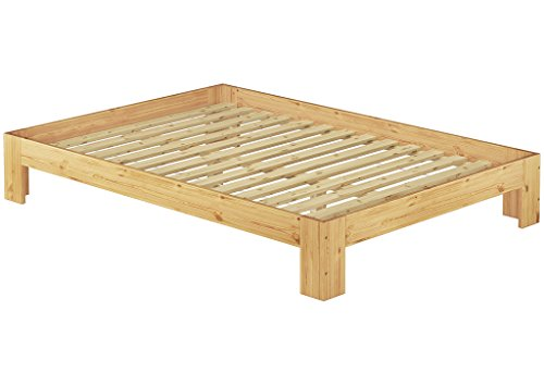 60.67-14 Französisches Bett 140 x 200 cm Kiefer massiv mit Rollrost Französisch Bett