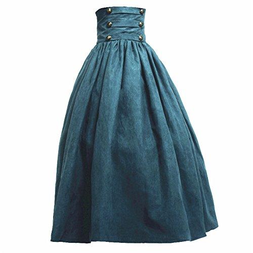 BLESSUME Gótico Lolita Steampunk Alto Cintura Para caminar Falda (Verde, M)