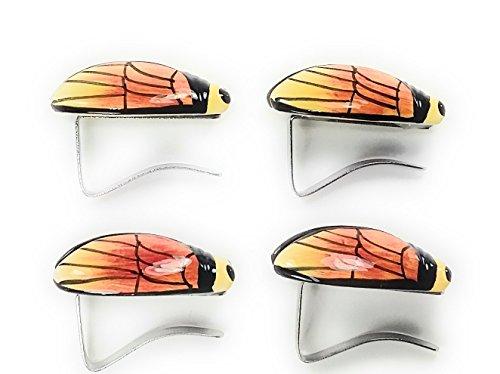 Lot de 4 pinces accroche nappe en forme de cigale jaune dégradé de rouge décoration ailes stylisées liseret noir