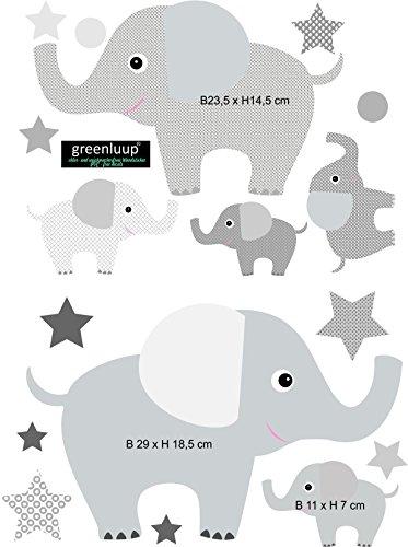 greenluup Wandsticker Wandaufkleber Tapetensticker Elefant Elefanten Sterne aus ökologischen Materialien (Elefanten Grau) Kinderzimmer Babyzimmer Deko Wandbild Aufkleber