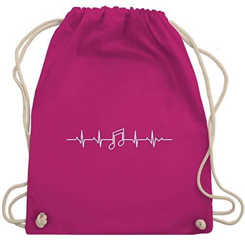 Symbole - Herzschlag Musik Note - Unisize - Fuchsia - WM110 - Turnbeutel & Gym Bag