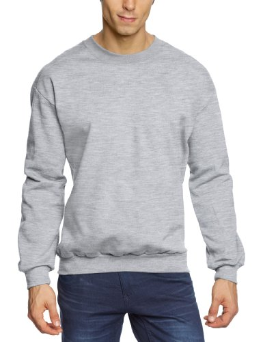 Anvil - Felpa regular fit, colletto tondo, manica lunga, uomo, Grigio (Grau (HGY-Heather Grey)), M